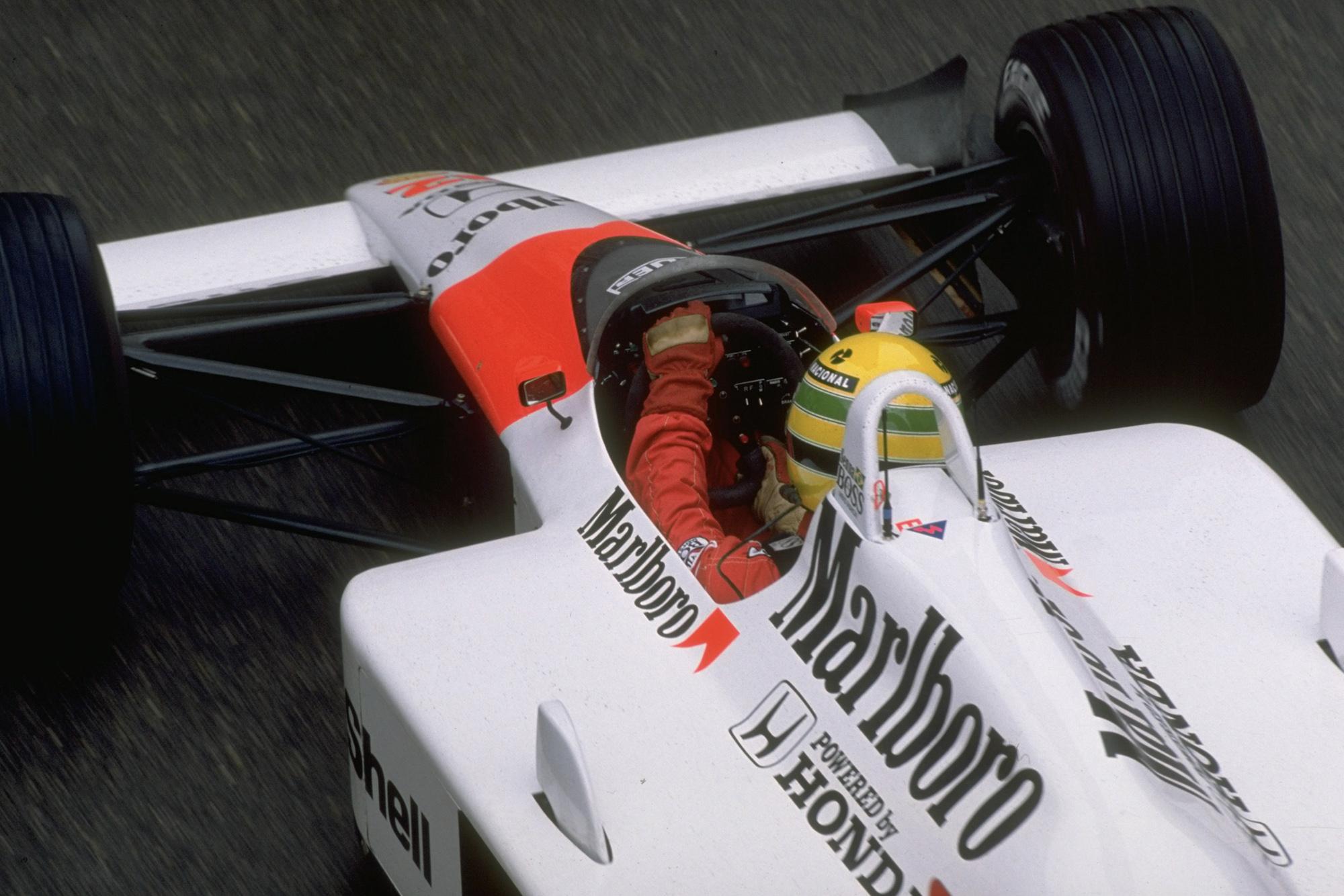 Overhead view of Ayrton Senna at the 1988 Monaco Grand Prix Getty