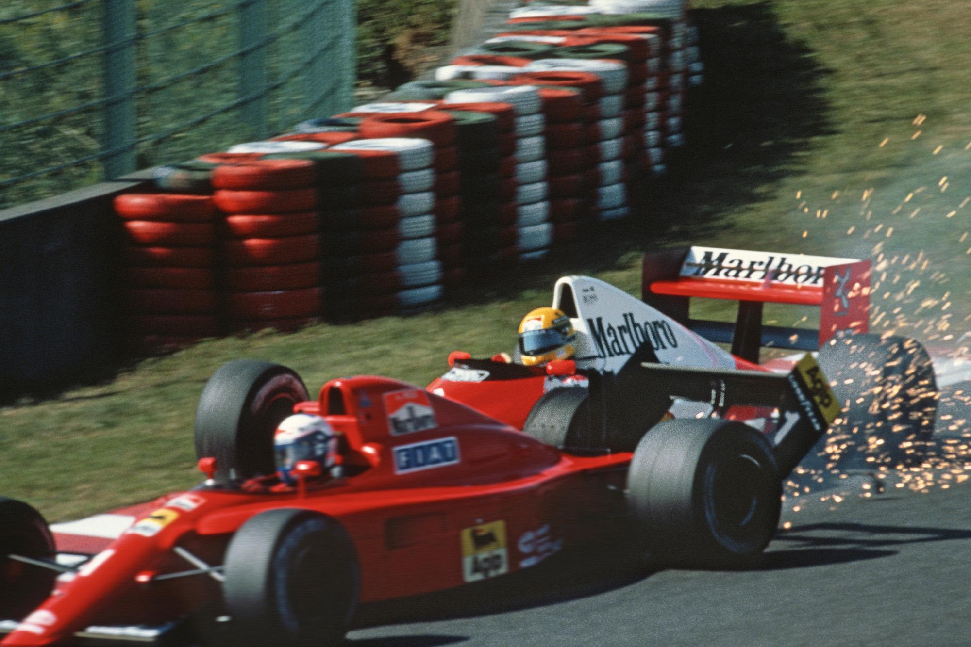 Ayrton Senna hits Alain Prost at the start of the 1990 Japanese Grand Prix