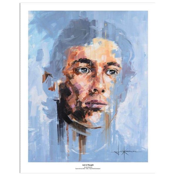 Portrait print of Ayrton Senna by artist John Ketchell