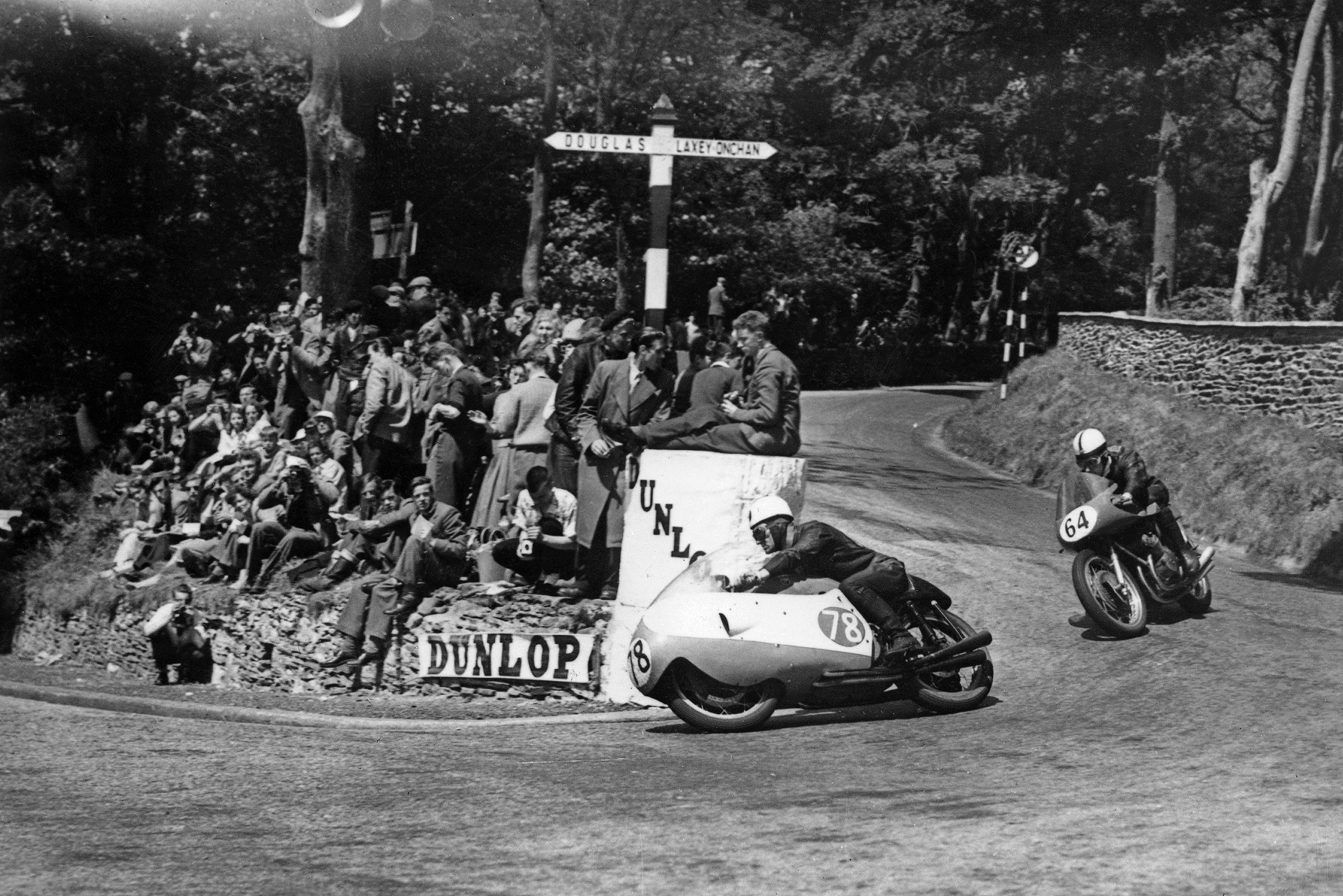 Bob McIntyre rounds the Governor's Bridge hairpin in the 1957 Isle of Man Senior TT