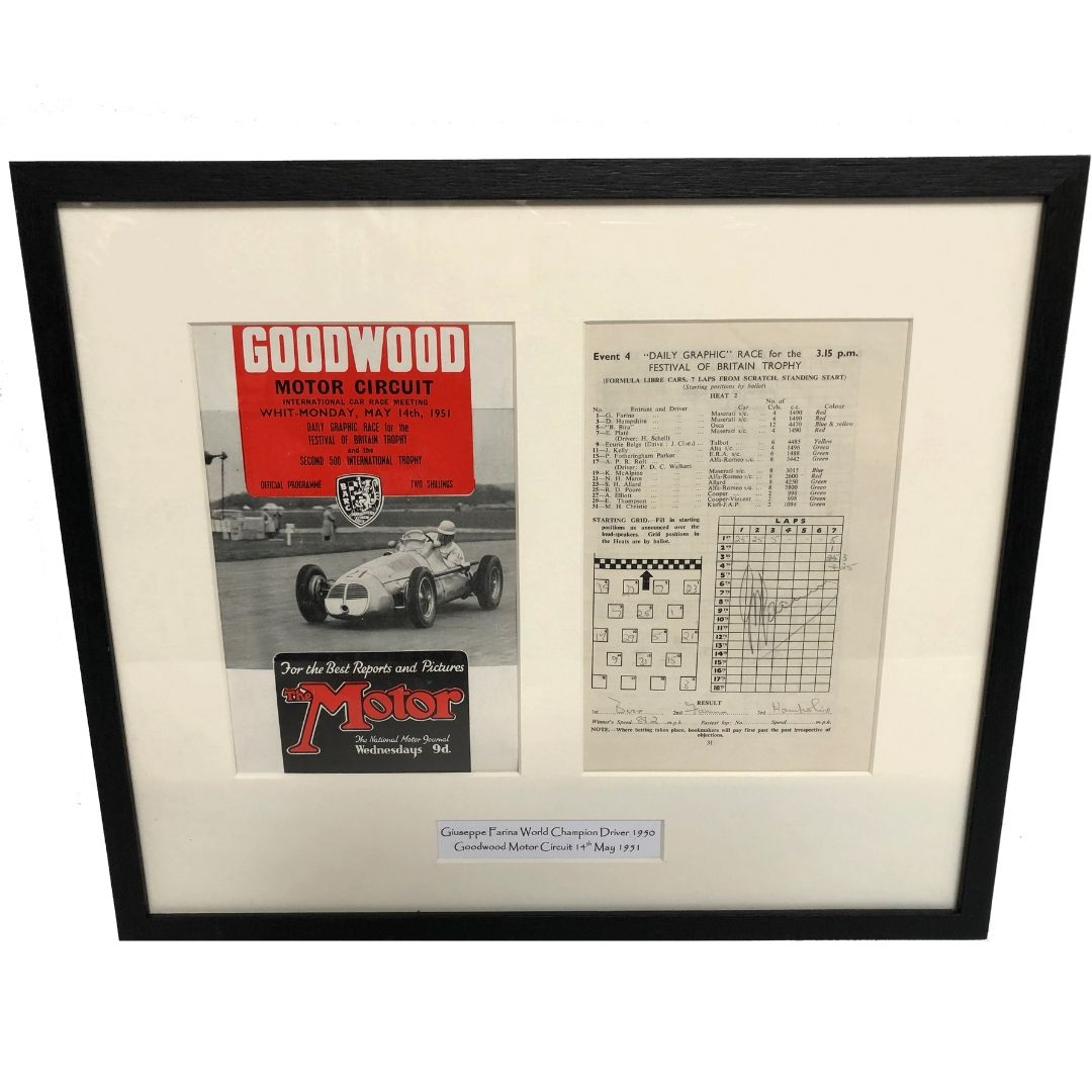 Product image for Giuseppe Farina - Maserati - 1951 | Goodwood Programme | signed Giuseppe Farina