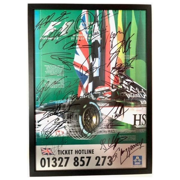 F1 poster signed by 22 drivers - Formula 1   Fosters British Grand Prix 21-23 April 2000  