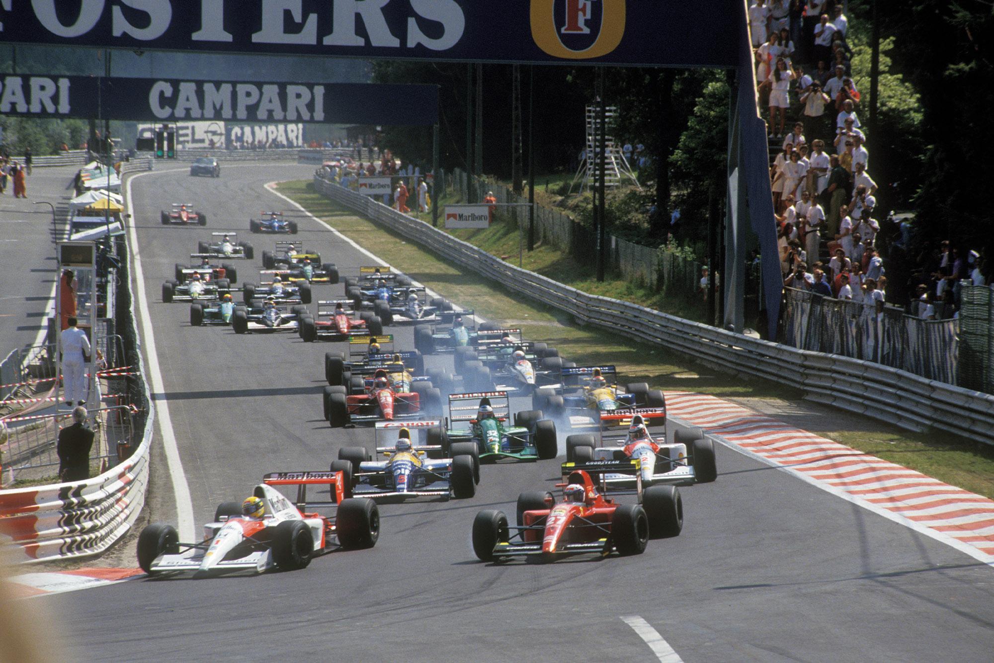 Ayrton Senna leads at the start of the 1991 Belgian Grand Prix