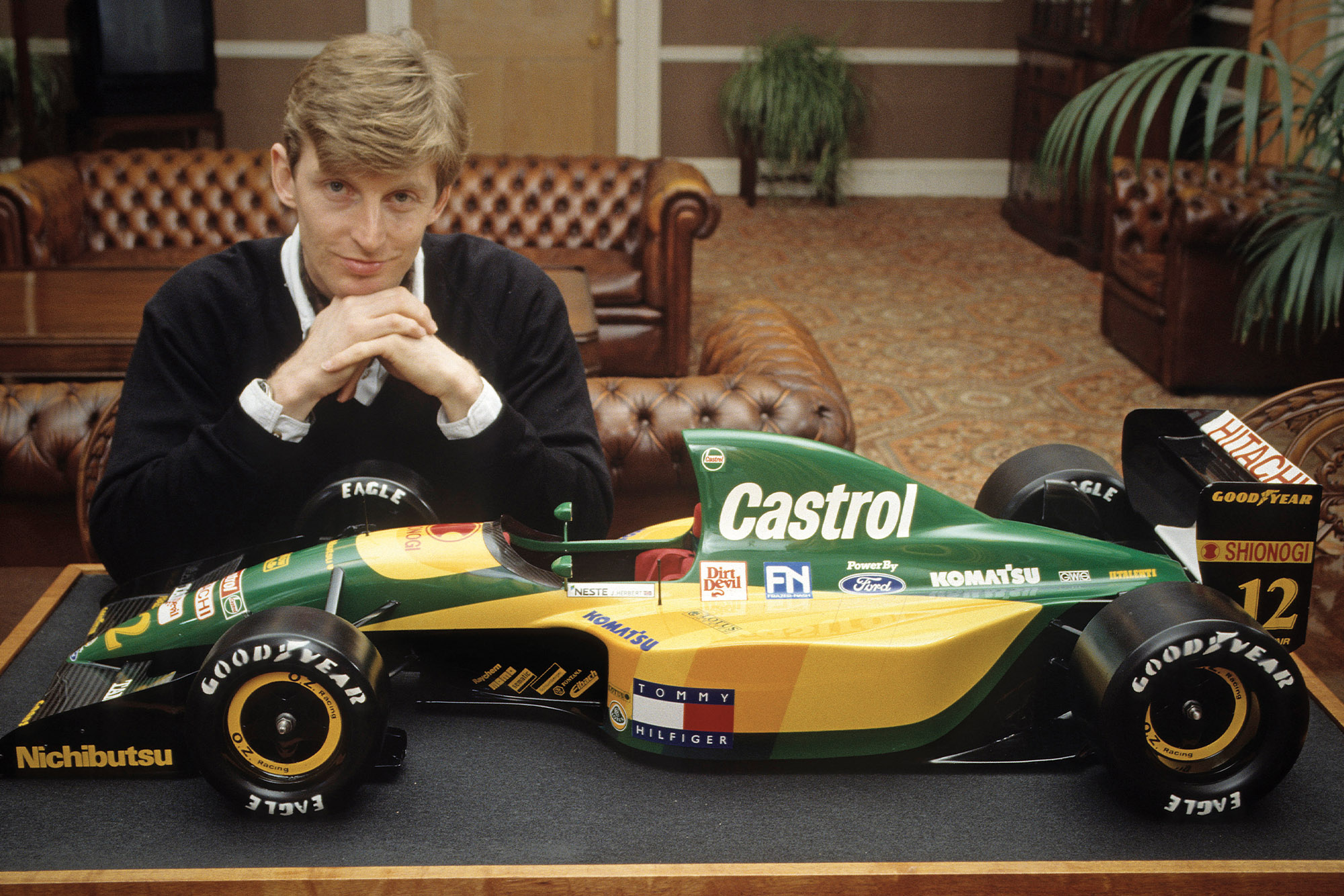 Chris Murphy with a model of the 1993 Lotus F1 car