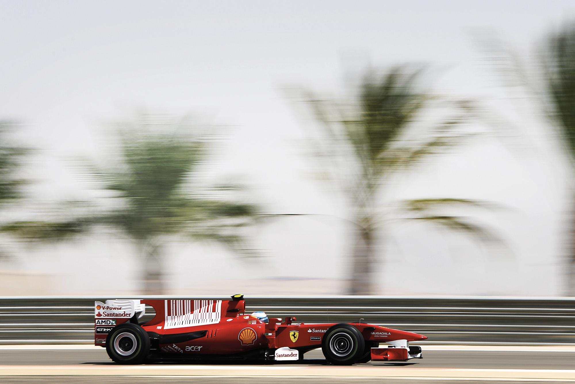 Fernando Alonso in a Ferrari