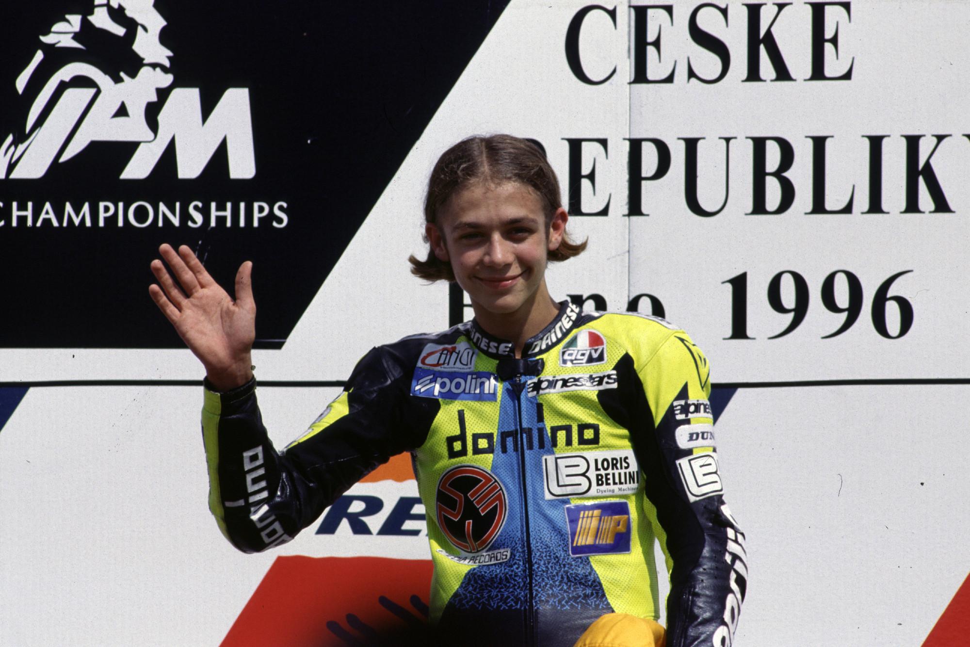 Valentino Rossi celebrates his first win