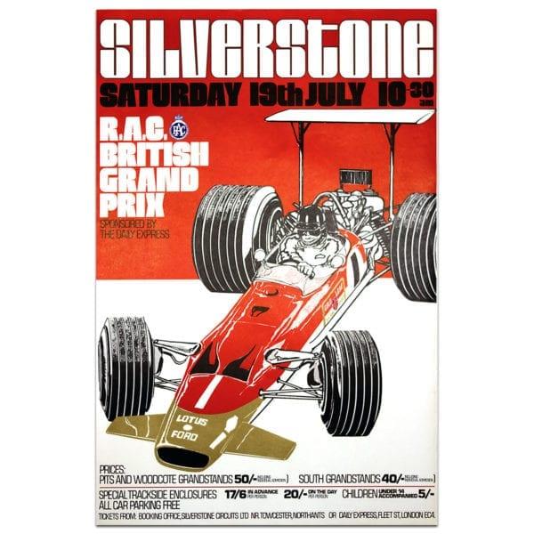 British GP 1969 Silverstone vintage poster red