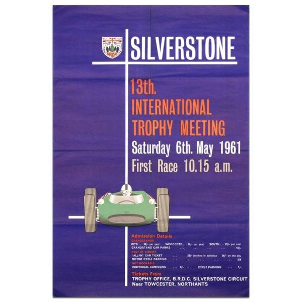 British International trophy 1961 Silverstone poster vintage purple