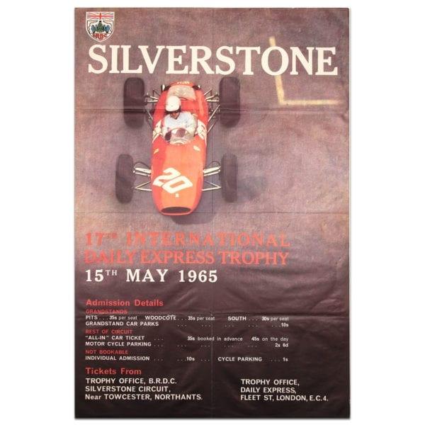 1965 vintage poster HCA British international trophy Silverstone