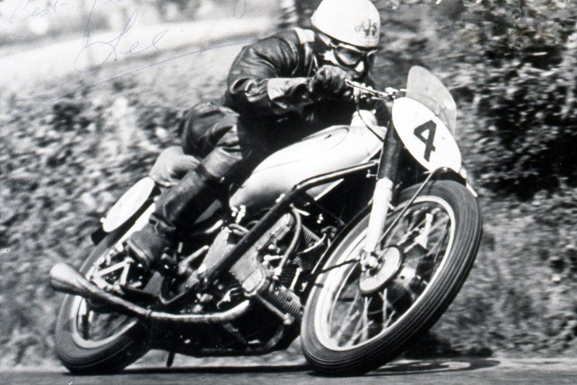 Les Graham on an AJS Porcupine twin in 1949