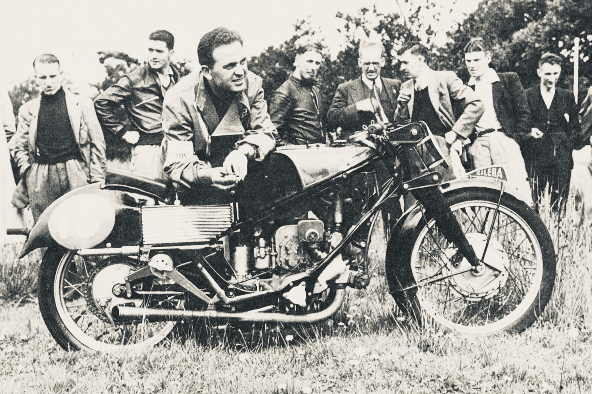 Dorino Sefarini with a Gilera four