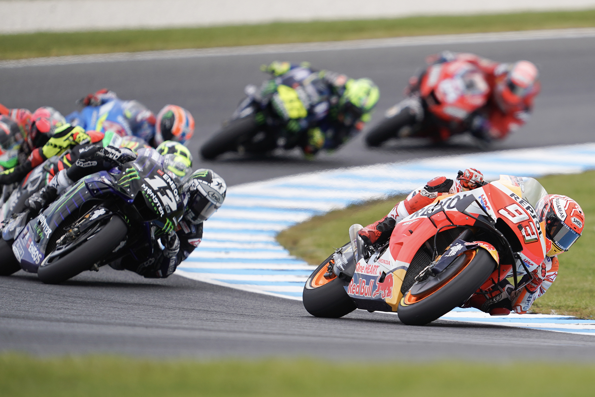 Marc Marquez and Maverick Vinales at Phillip Island in 2019