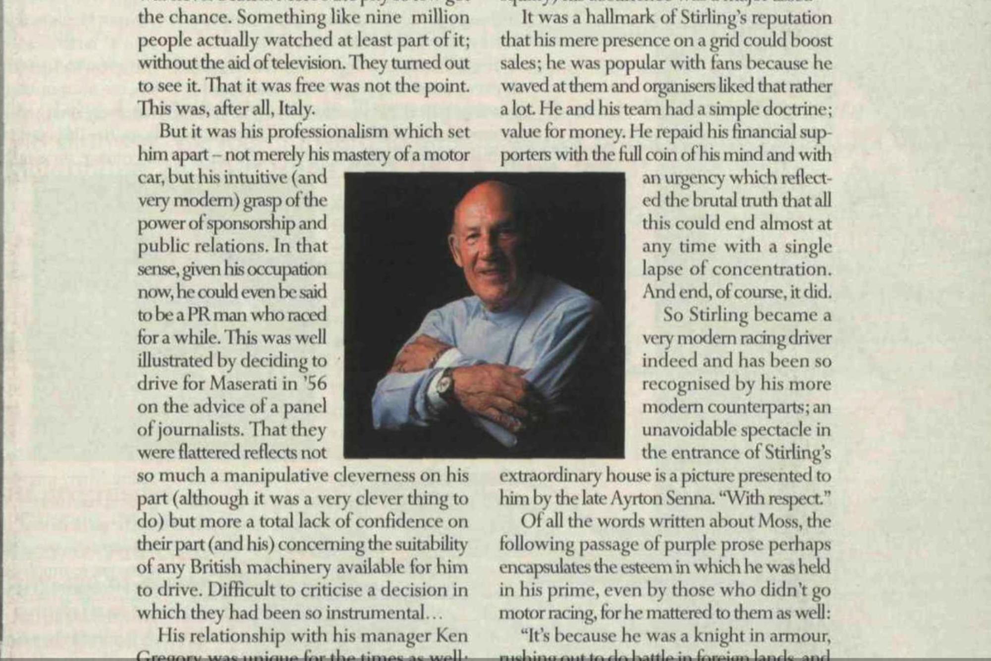 Stirlng Moss, October 1999