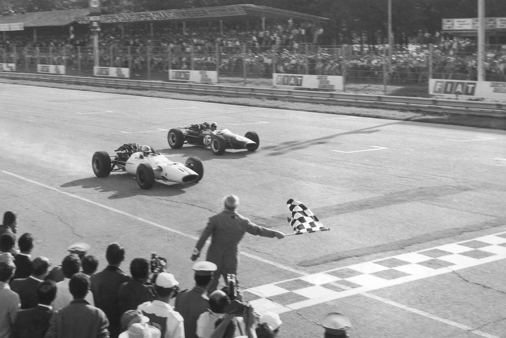 John Surtees beats Jack Brabham to the line in the 1967 Italian Grand Prix