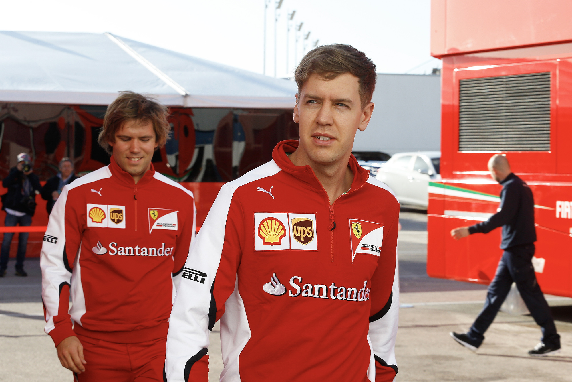 Sebastian Vettel during his first pre-season test with Ferrari in 2015
