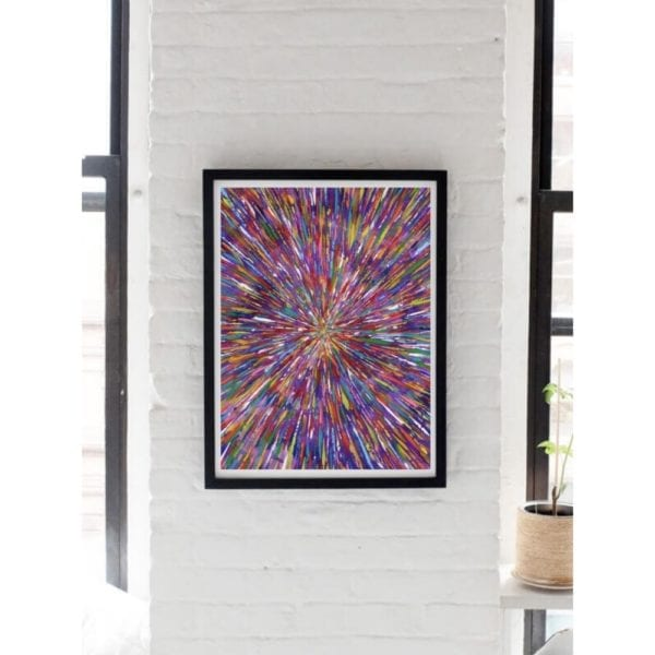 purple abstract painting hung on white wall