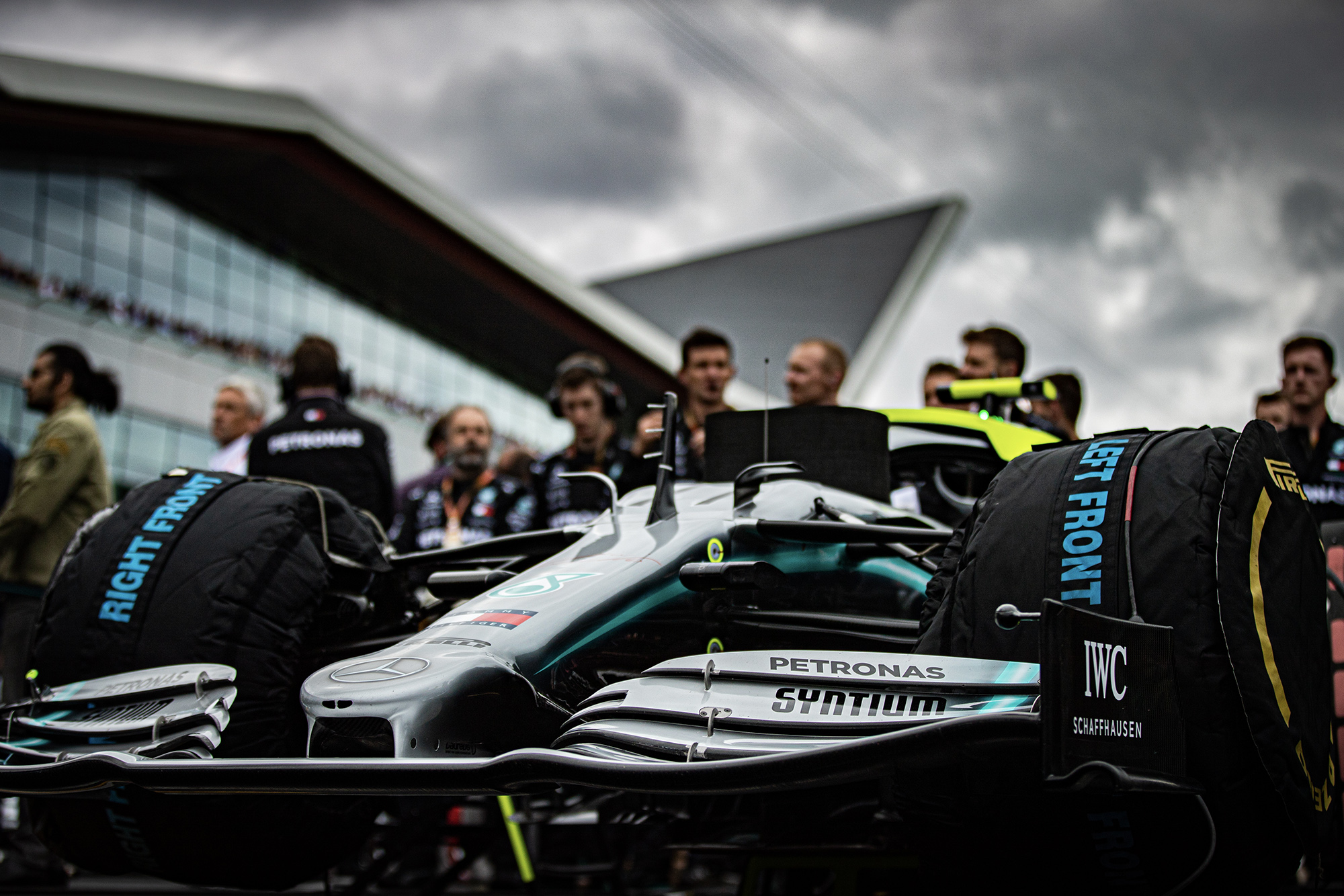 Valtteri Bottas Mercedes on the grid on front of the Silverstone Wing at the British Grand Prix