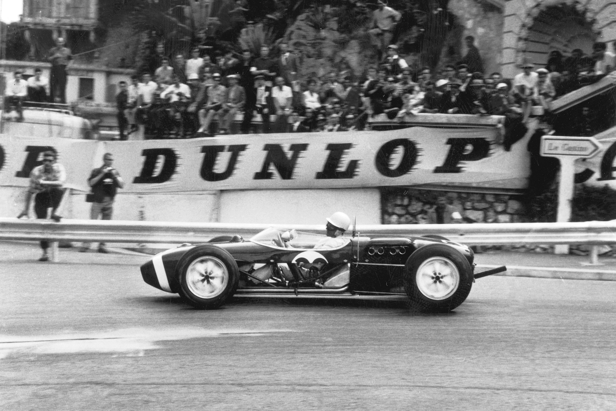 Stirling Moss in the Lotus 18 with side panels removed for cooling at Monaco in 1961
