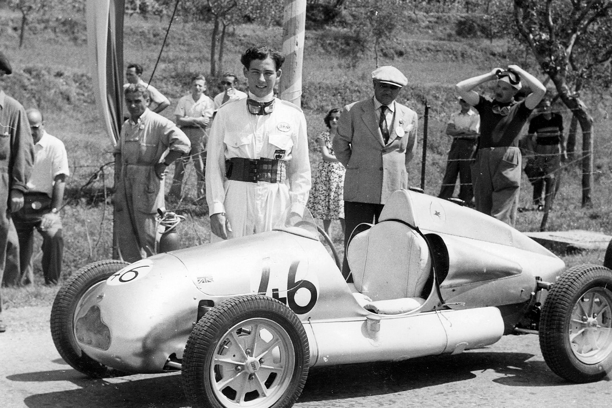 Stirling Moss with his Cooper at the Circuit of Garda in 1949