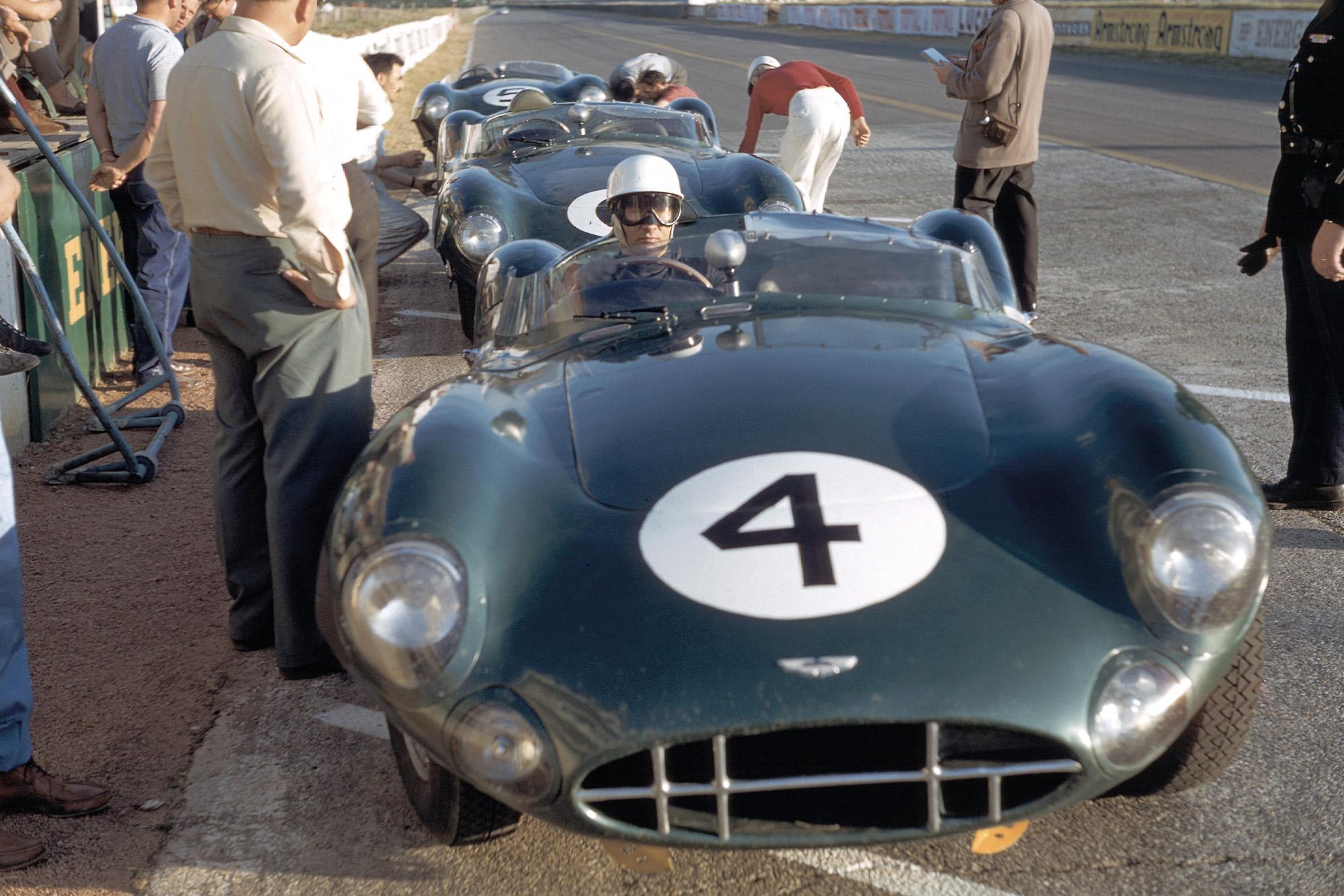 Stirling Moss in an Aston Martin DBR1