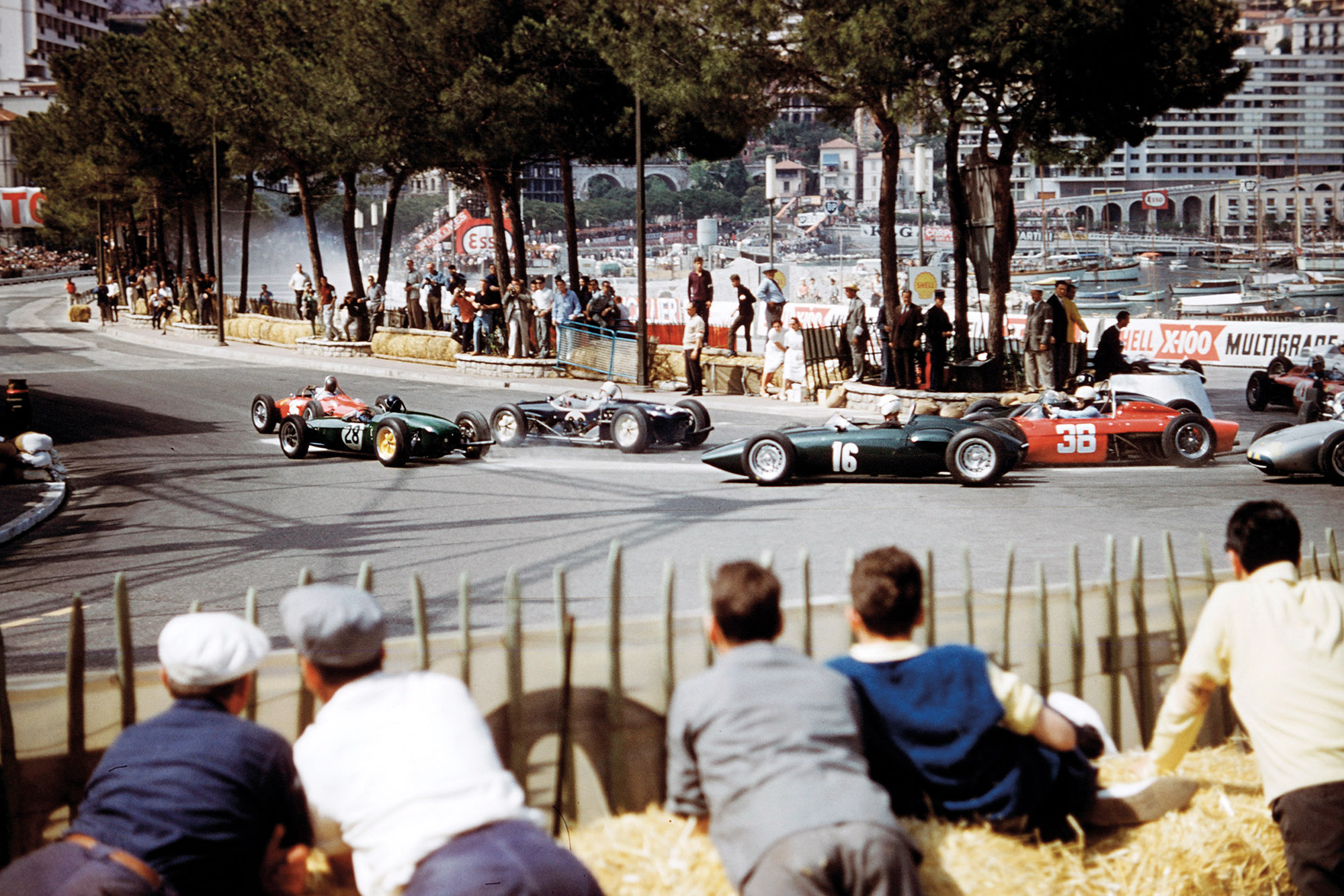 First corner after the start of the 1961 Monaco Grand Prix