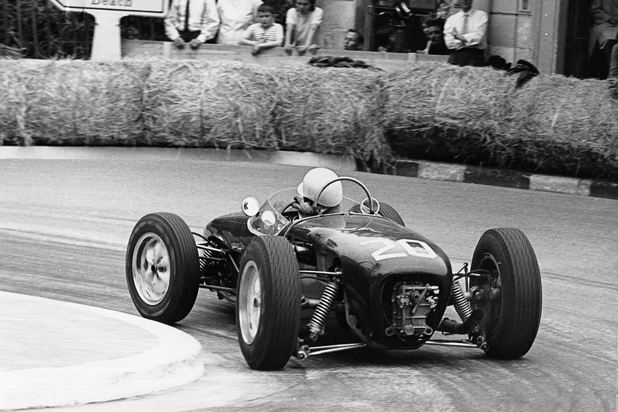 Rear shot of Stirling Moss at the hairpin during the 1961 Monaco Grand Prix