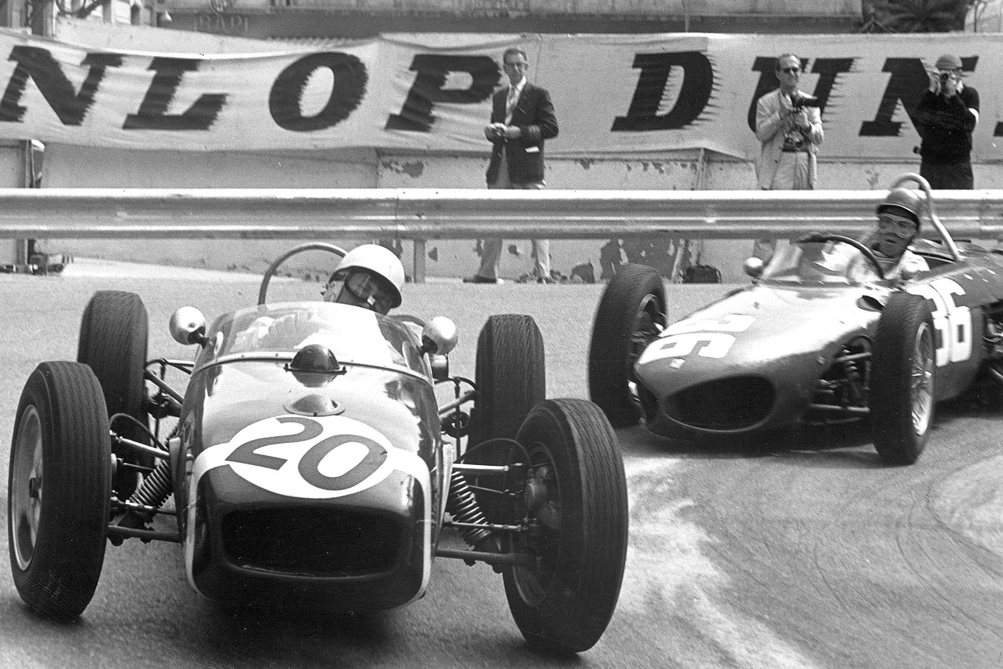Stirling Moss leads a Ferrari during the 1961 Monaco Grand Prix