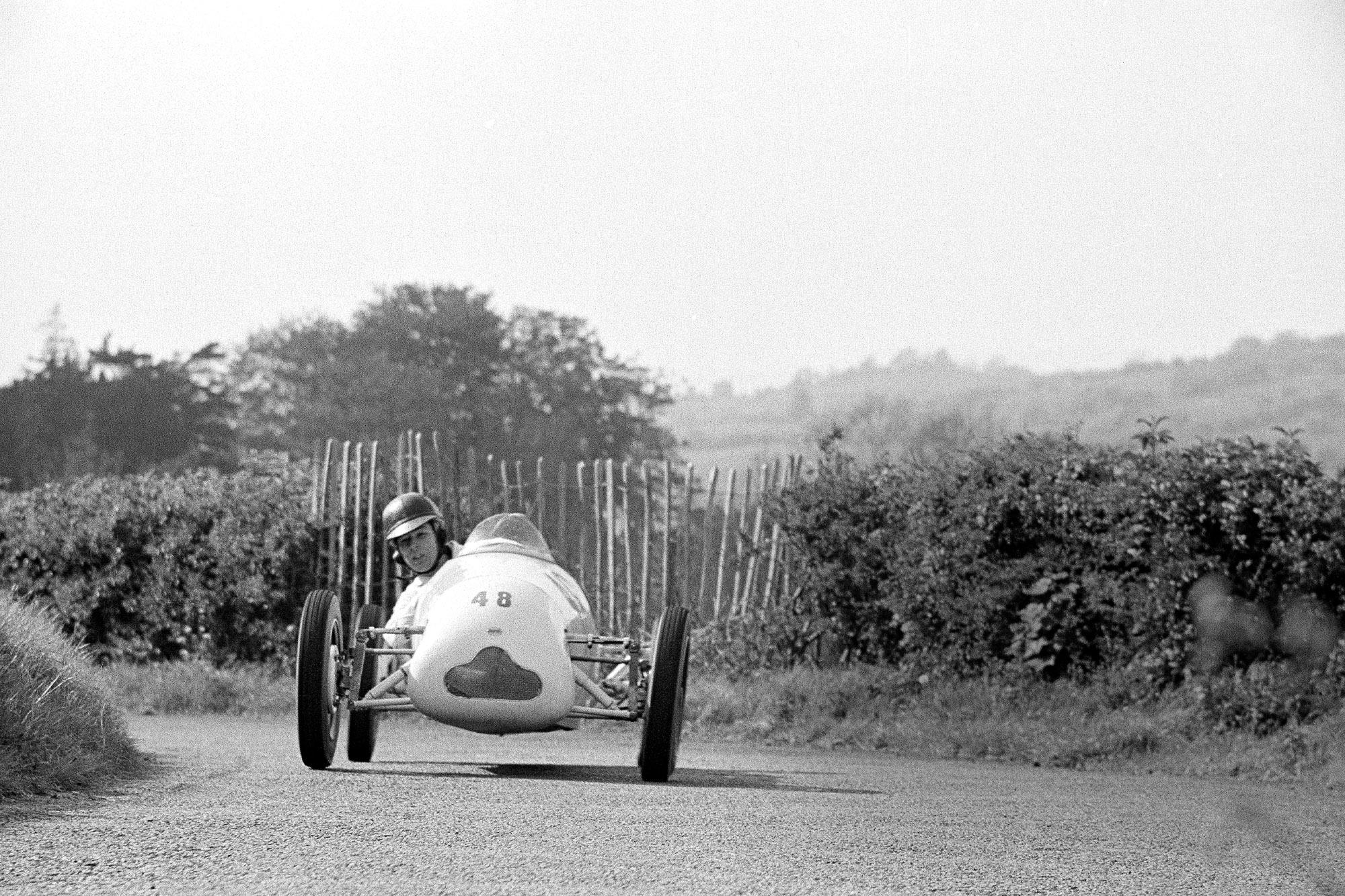 Stirling Moss at the Prescott Hillclimb in 1948