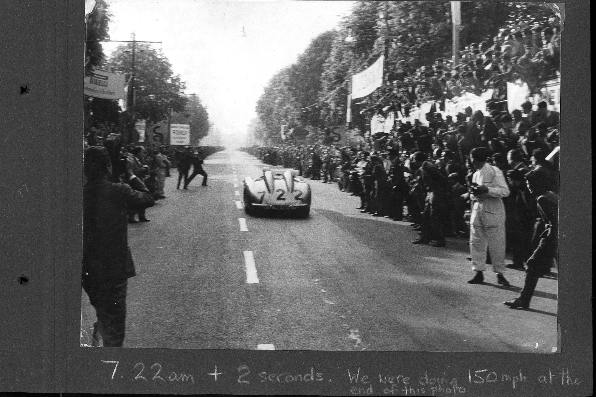 Stirling Moss 1955 Mille Miglia departure in the Mercedes 300 SLR