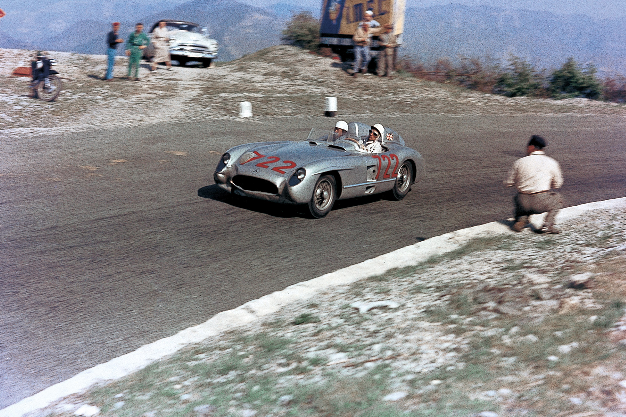 Stirling Moss at high speed in the 1955 Mille Miglia