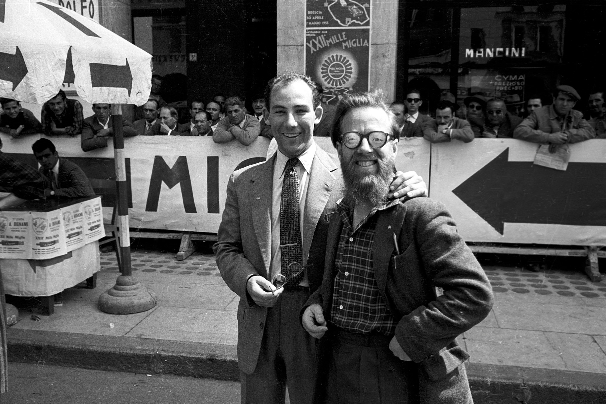 Stirling Moss with Denis Jenkinson at the 1955 Mille Miglia