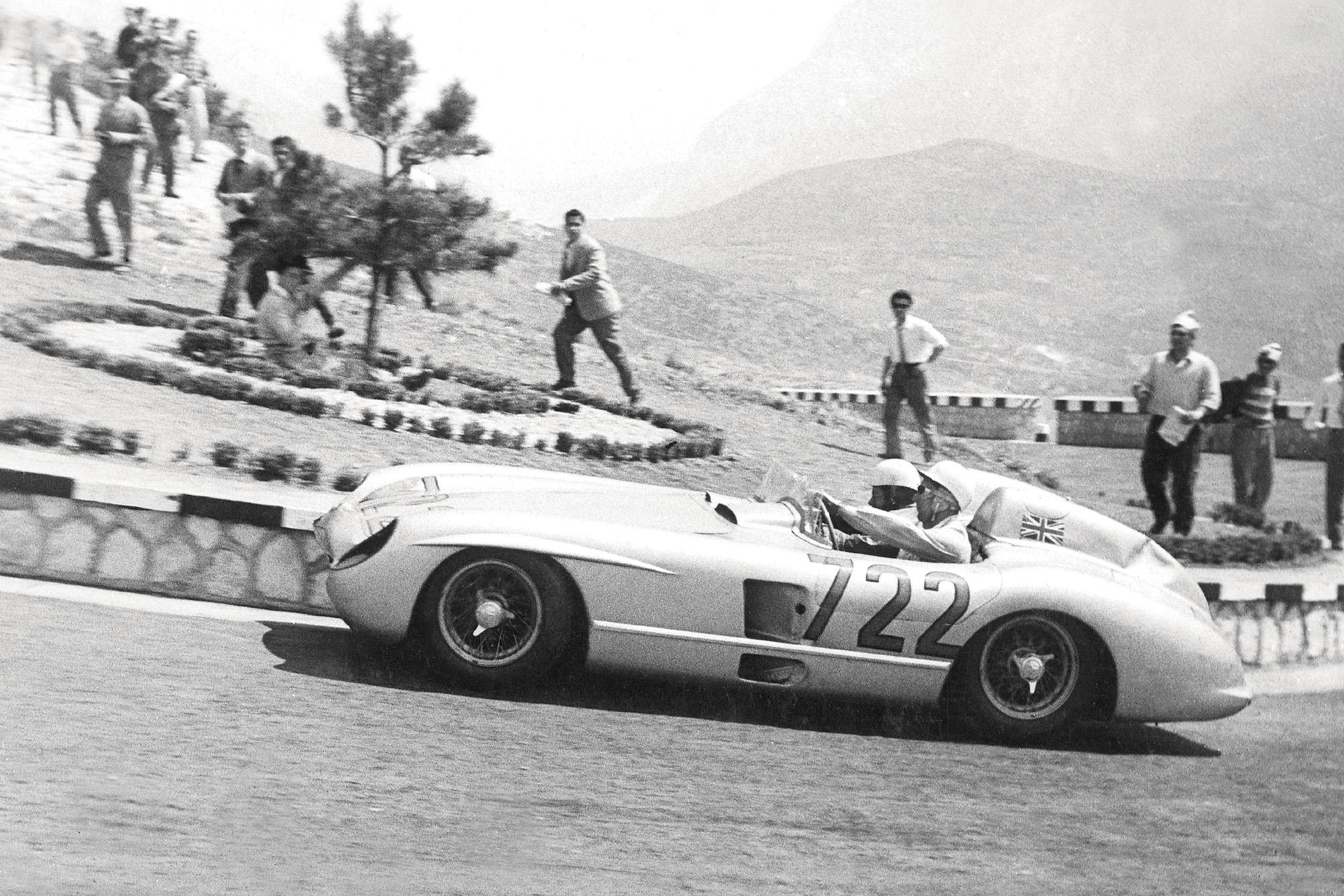 Moss 1955 Mille Miglia climbing