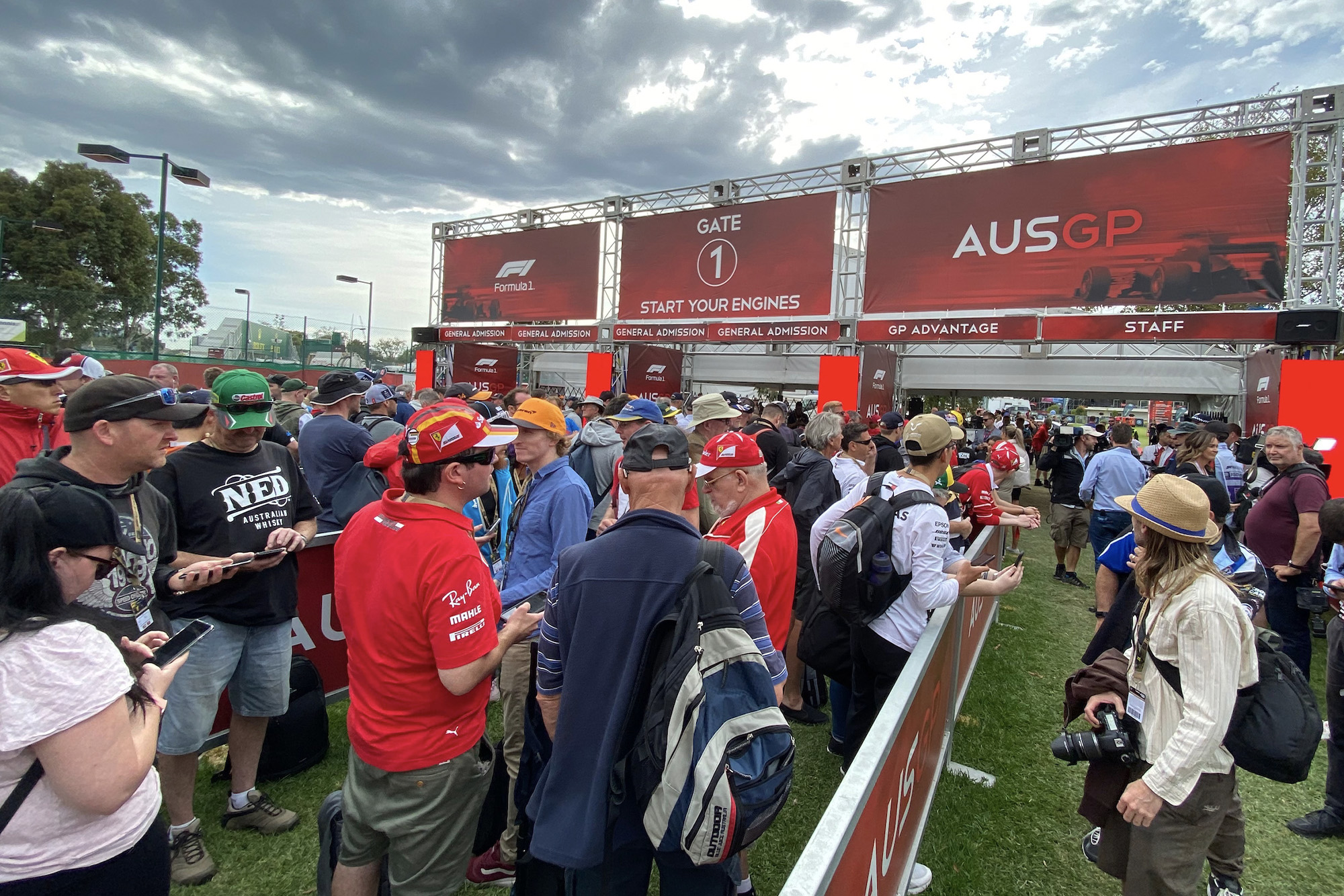 Spectators queue at Albert Park not knowing that the 2020 Australian Grand Prix has been cancelled