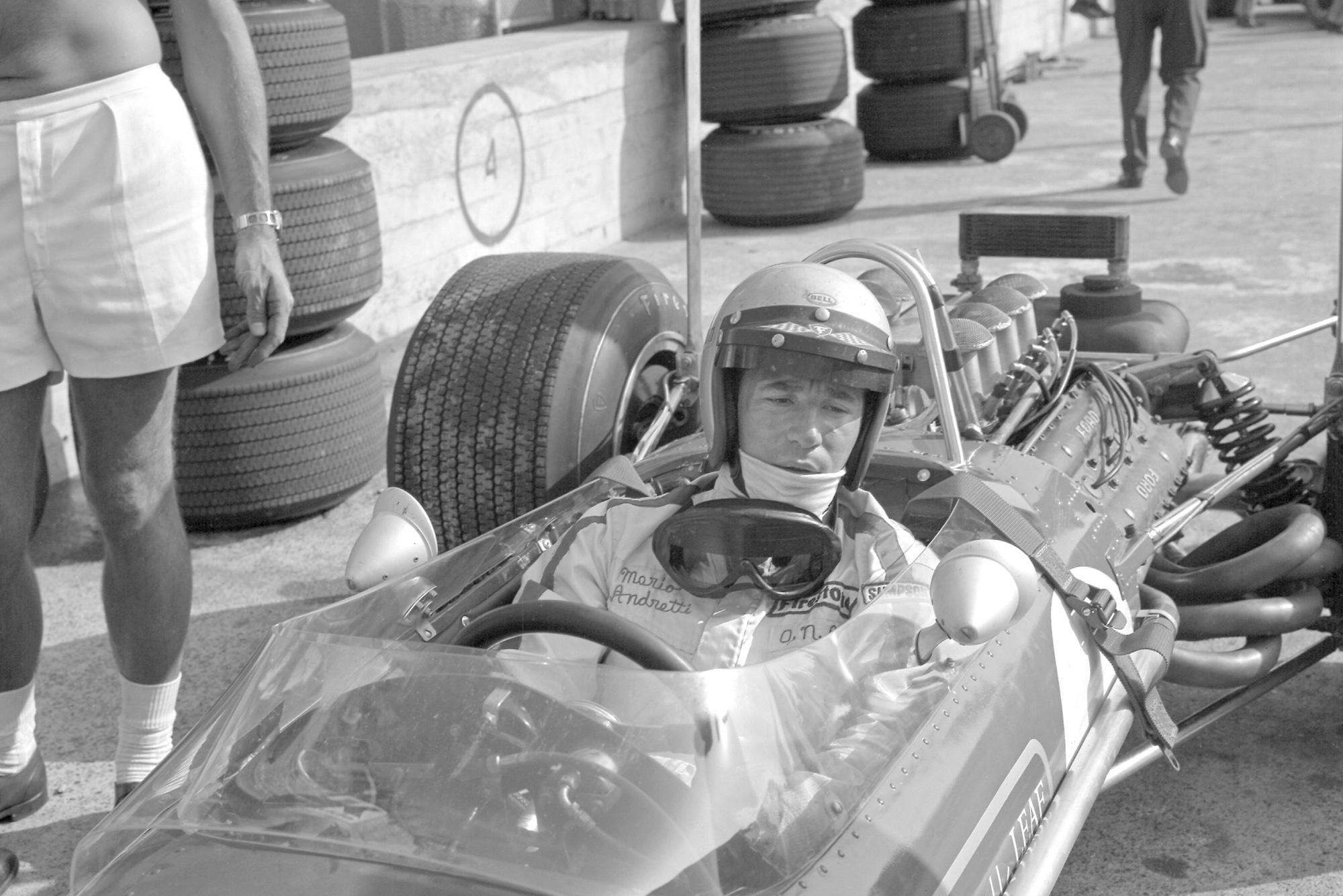 Mario Andretti in his Lotus at Monza ahead of the 1968 Italian Grand Prix