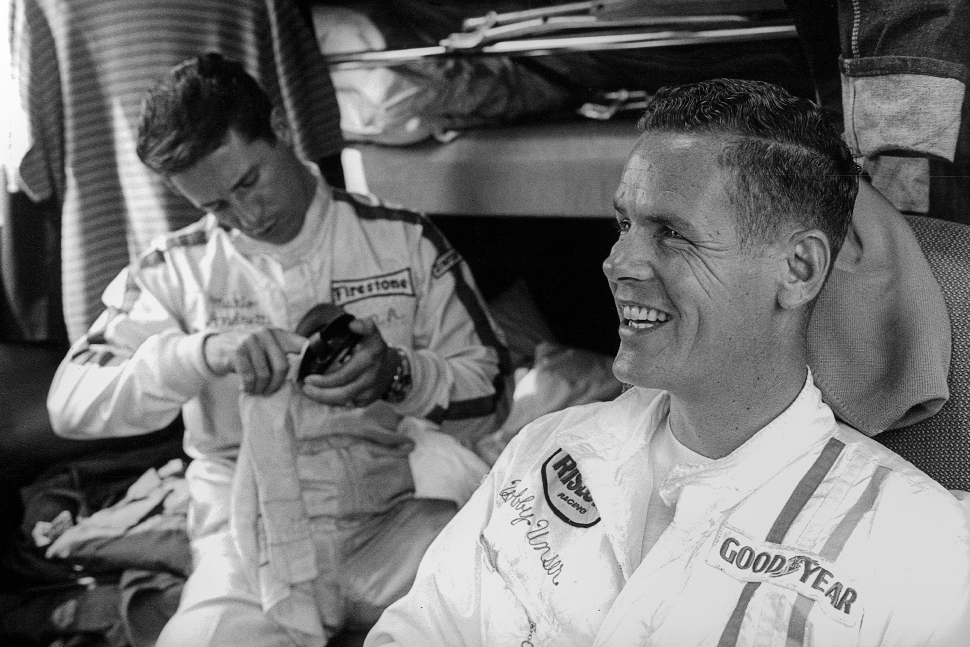 Mario Andretti and Bobby Unser at Monza in 1968