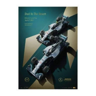 Product image for Duel In the Desert   Lewis Hamilton & Nico Rosberg - Mercedes - 2014    Limited Edition poster