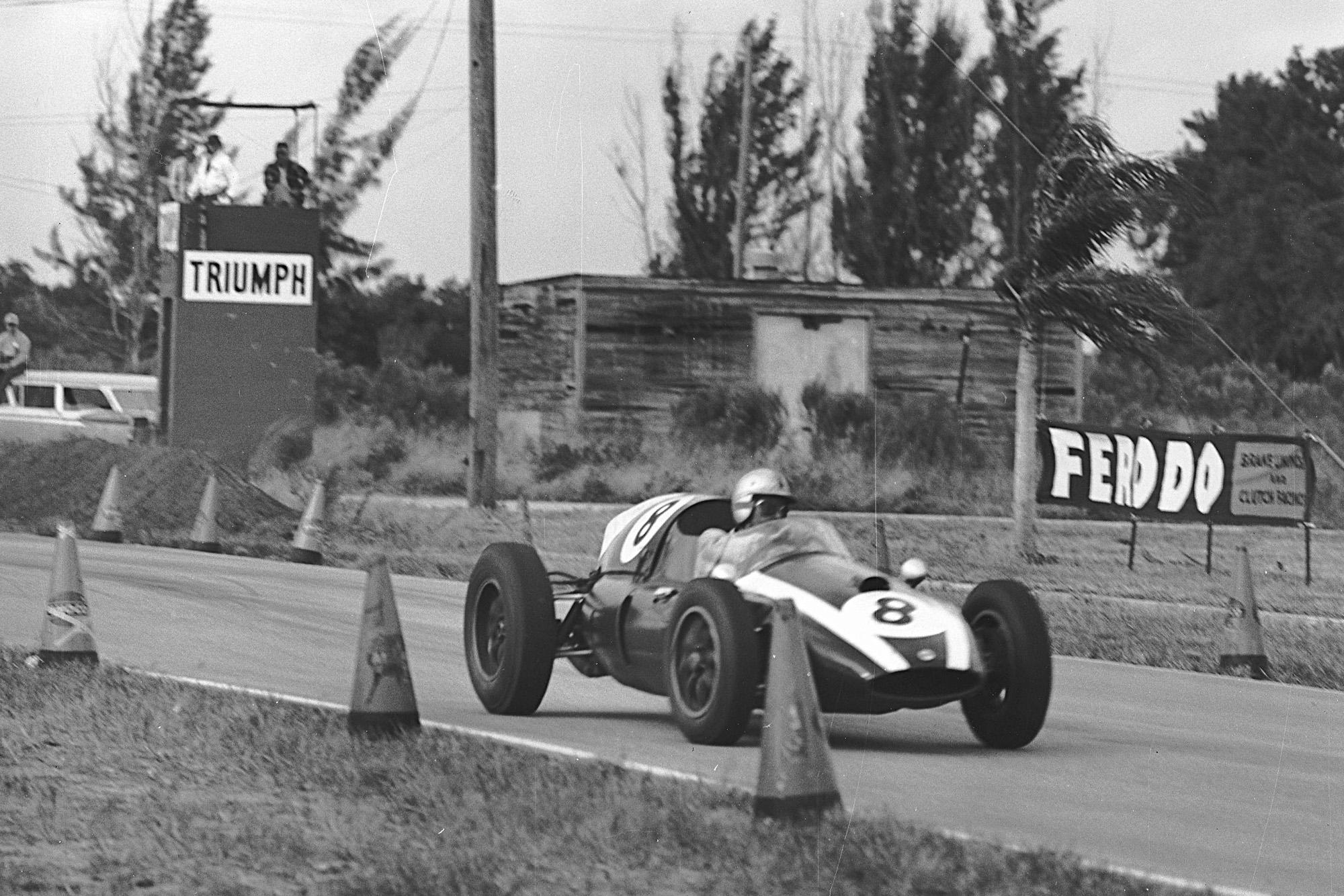 Jack Brabham in the 1959 united States Grand Prix at Sebring