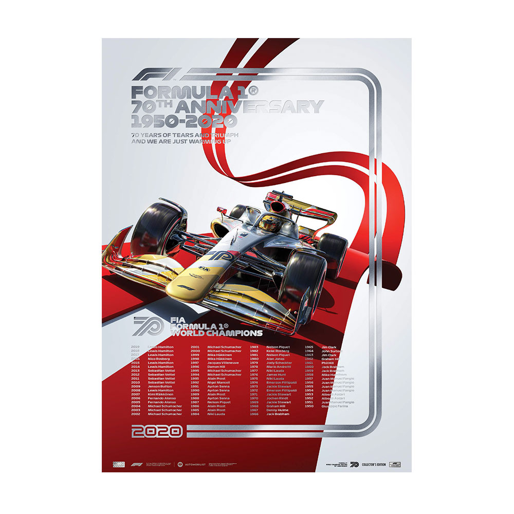Product image for Formula 1® World Champions: 1950-2019 | 70th Anniversary | Automobilist | Collector's Edition poster