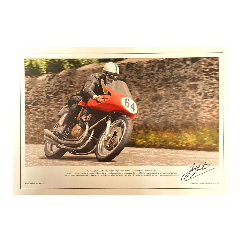 Product image for John Surtees - MV Agusta TT - 1957 | lithograph | signed John Surtees
