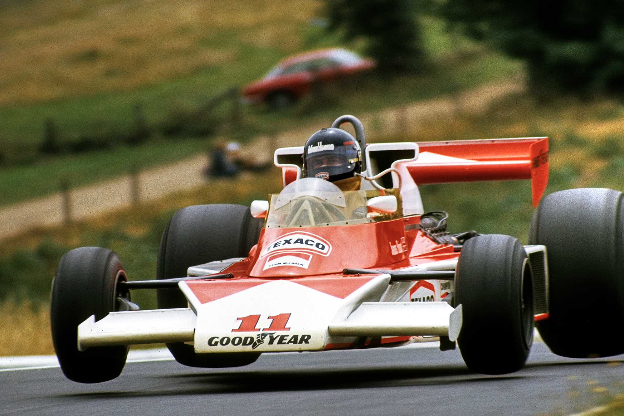 James Hunt in the air at the Nurburgring in 1976