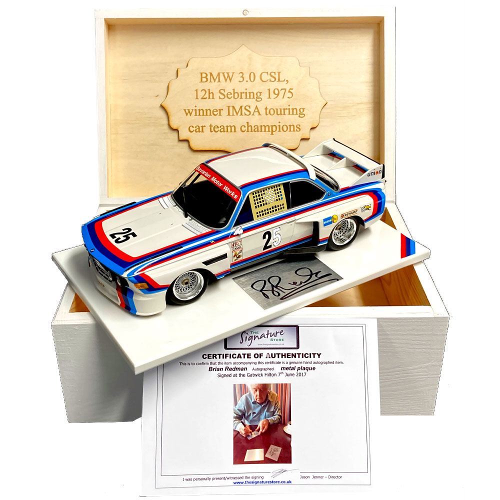 Product image for Brian Redman - BMW 3.0L CSL – 1975   model   signed Brian Redman   1:18 scale
