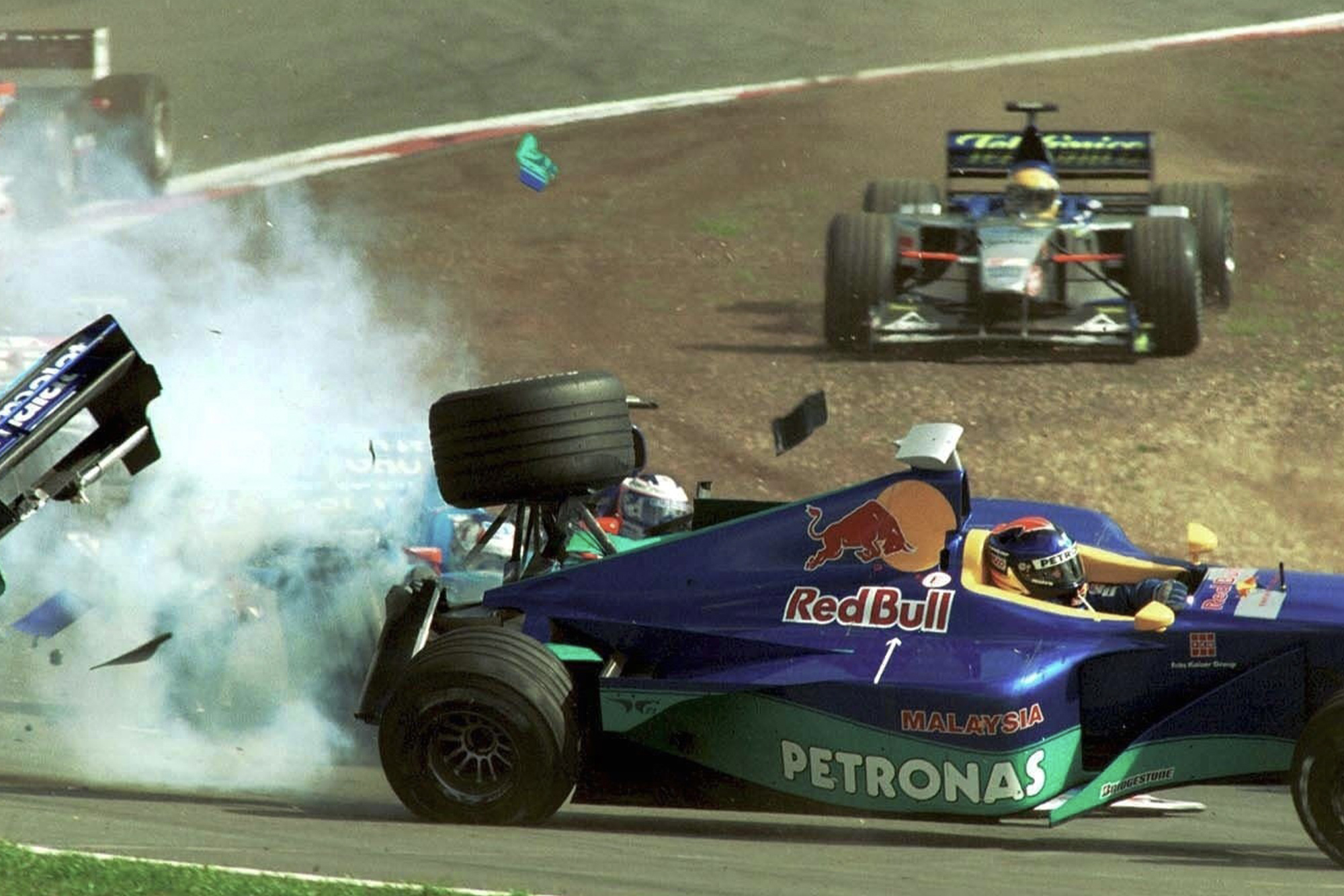 Pedro Diniz is flipped by Alexander Wurz at the start of th 1999 F1 European Grand Prix at the Nurburgring