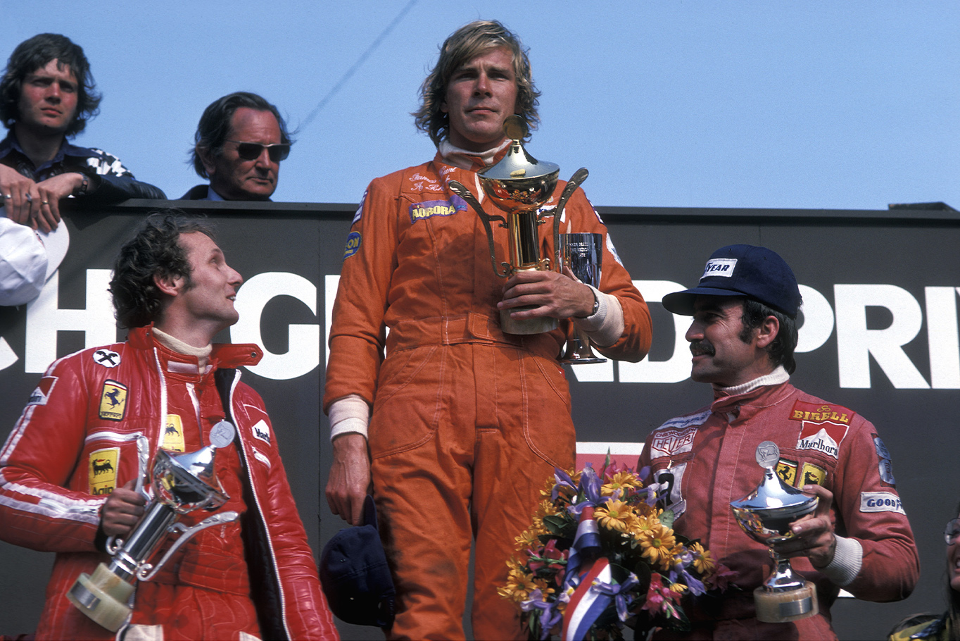 James Hunt on the top step of the podium for Hesketh Racing after winning the 1975 Dutch Grand Prix at Zandvoort