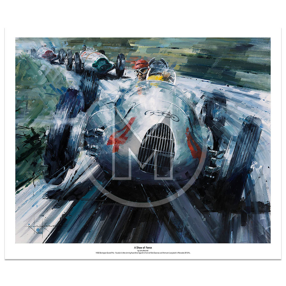 Product image for A Show of Force | Tazio Nuvolari – Auto Union Type D – 1938 | John Ketchell | Limited Edition Print
