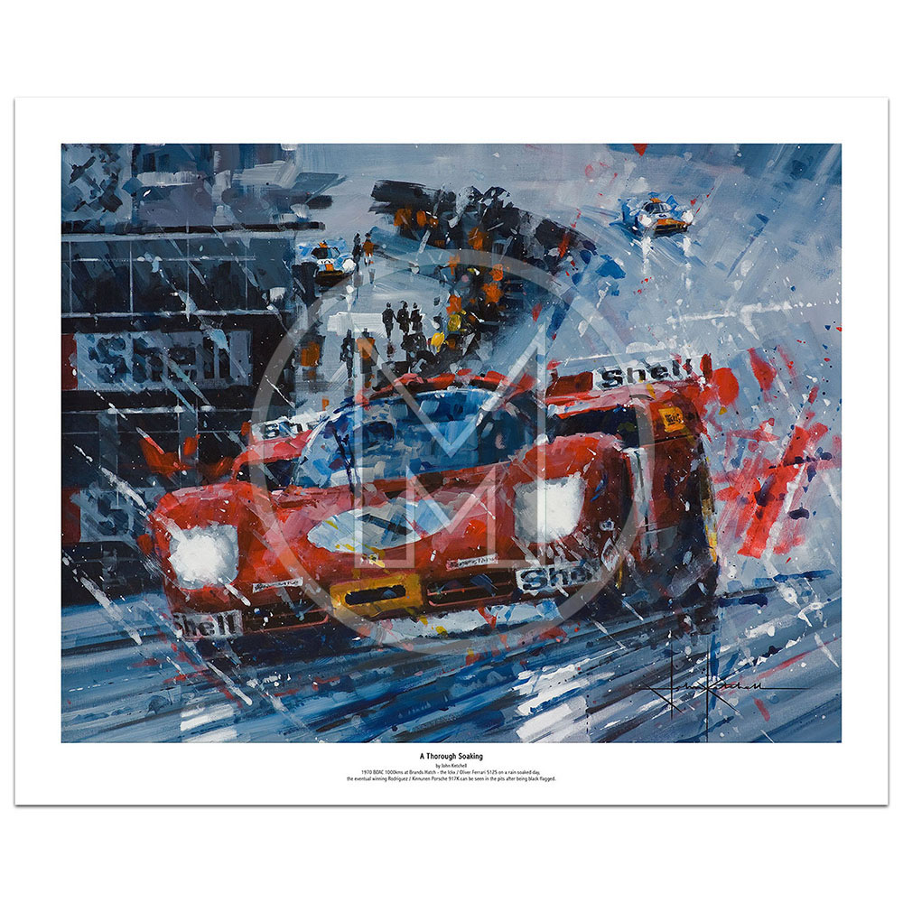 Product image for A Thorough Soaking   Jackie Ickx – Ferrari 512S – 1970   John Ketchell   Limited Edition Print