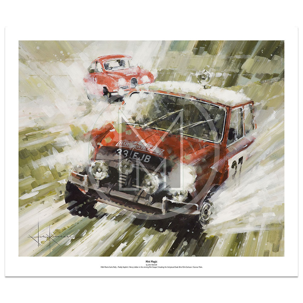 Product image for Mini Magic | Paddy Hopkirk – Mini Cooper S – 1964 | John Ketchell | Limited Edition Print