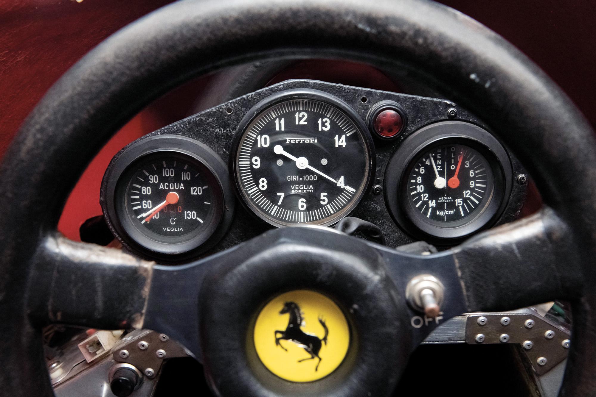 Dials in the cockpit of the Niki Lauda 1975 Ferrari 312T