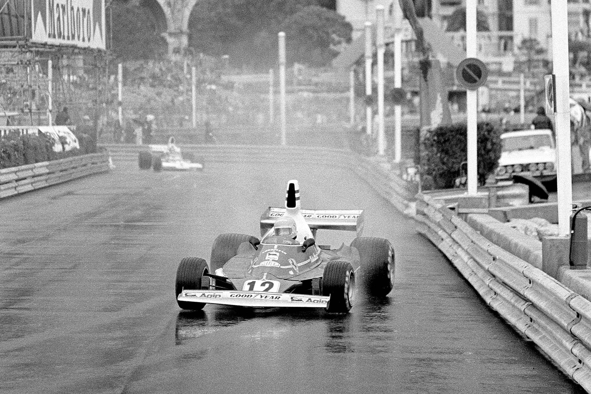 Niki Lauda leading the 1975 Monaco Grand Prix in his Ferrari 312T