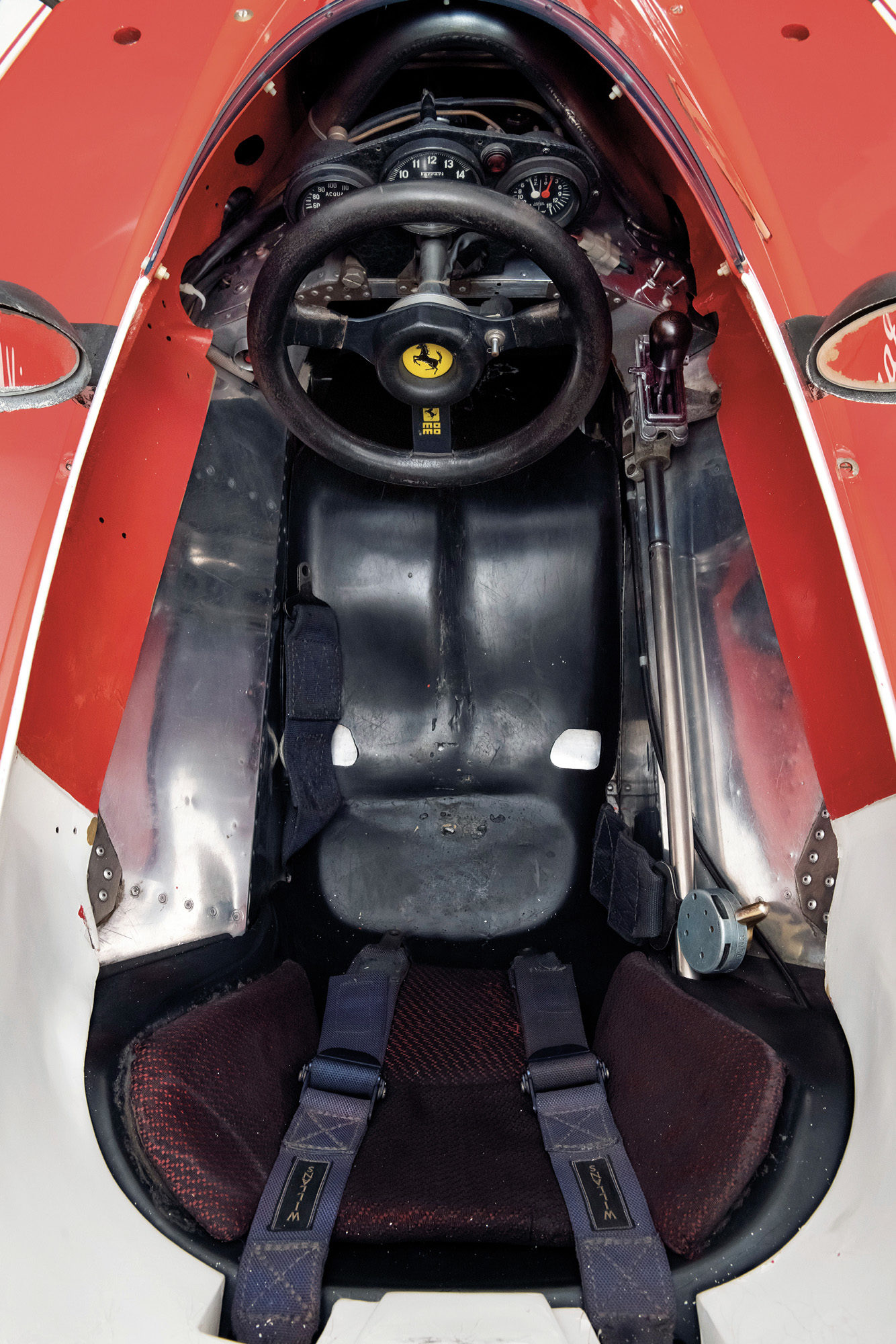 Overhead view of the cockpit and seat of the Niki LAuda 1975 Ferrari 312T