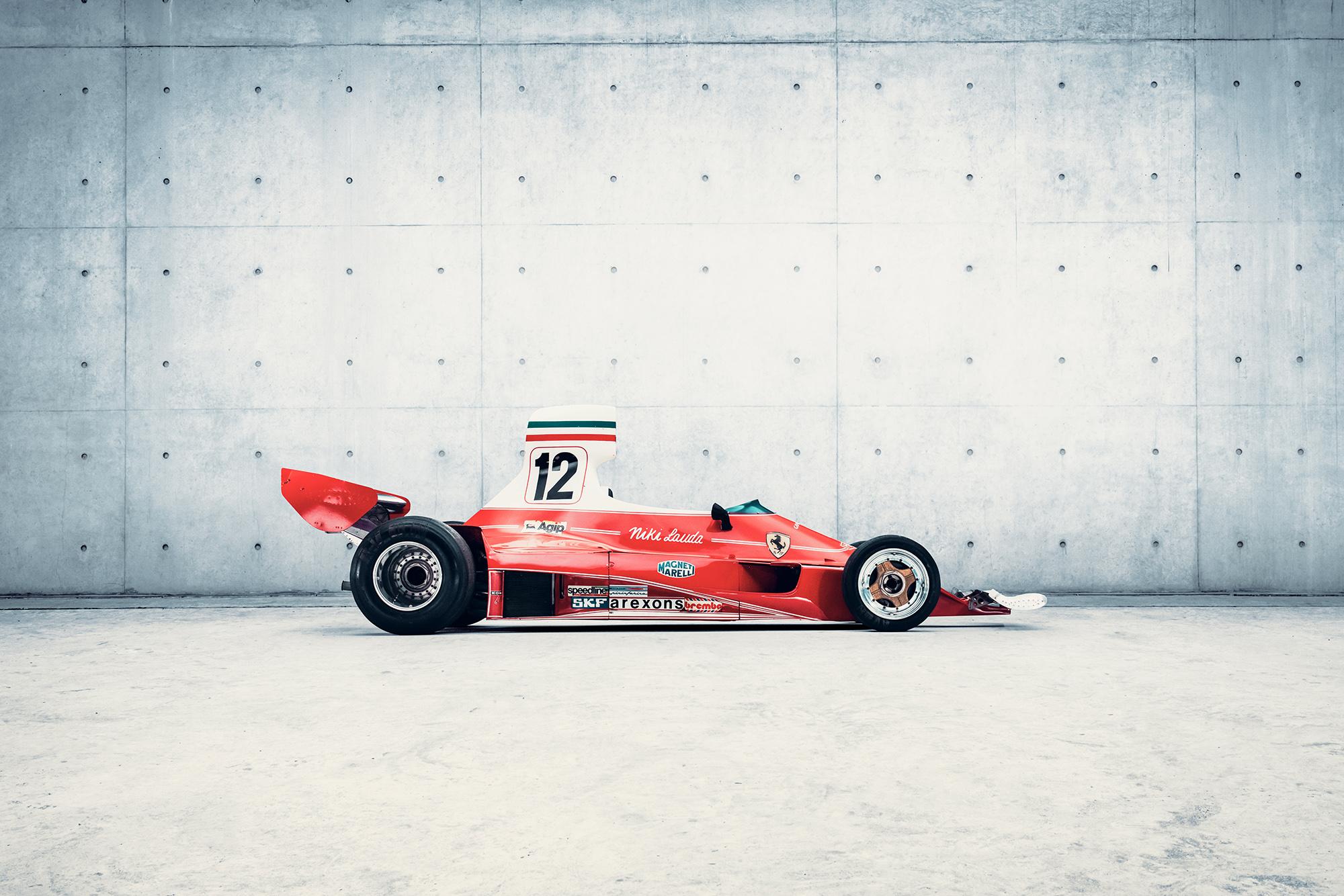 Side view of the Ferrari 312T in which Niki Lauda won five grands prix